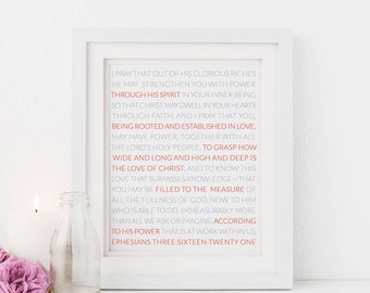 Ephesians Art Print, Nursery Scripture Modern Bible Journaling Gift, Baptism gift art, Bible verse for her, Printable Art, Digital Art Print