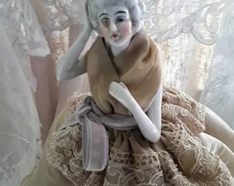 French Vintage, Half Doll, Boudoir Lamp , Boudoir Doll, Old Half Doll, Pretty Objects, Half Doll ,Decorative French, French Boudoir Objects