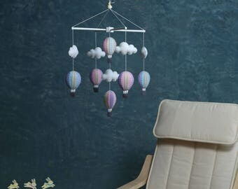 pastel purple and blue hot air balloons baby mobile, baby mobile, up in the air mobile, purple pink and blue baby mobile