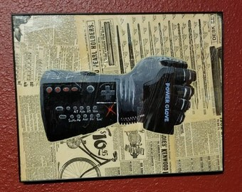 Power Glove Acrylic Painting over Sears Roebuck Catalog Pages