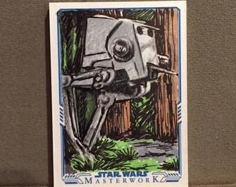Topps Star Wars MasterWork 2017 Original Sketch Trading Card - AT-ST