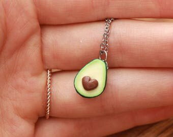 Avocado necklace with normal or heart shaped pit- ONE HALF - fruit jewelry, food jewelry, miniature food