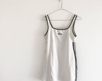 White Adidas tennis dress | sporty spice , vintage sport , chic , retro , athletic , mini dress , rave , festival