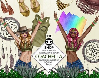 Watercolor Fashion Set - Coachella Theme - Boho set - Printable Stickers - Planner stickers - fashion cliparts png -