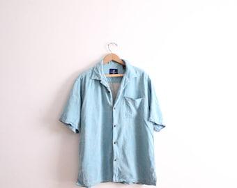 Sea Breeze Silk Button Down Shirt