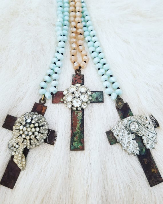 The Vintage Junkie...Long Layering Rhinestone Cross Necklace