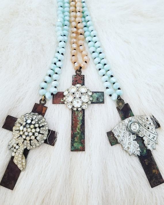 The Vintage Junkie...Long Layering Rhinestone Cross Necklace