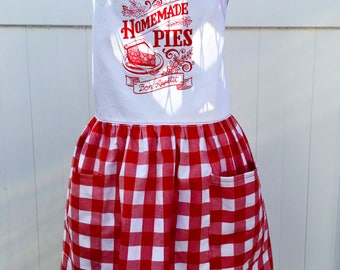 Pie Lover's  Apron - Homemade Pie Apron - Full Skirt Apron