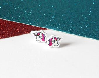 Unicorn stud earrings, Small girls earrings, Cute earrings, Unicorn jewellery, Unicorn gifts, Pink earrings