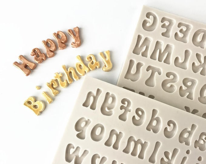 2pc Alphabet Letters Silicone Mold - M1194 - Baking Fondant Soap Chocolate Candy Jelly Words Capital Uppercase Lowercase