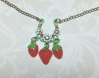 Summertime Strawberry Patch Necklace
