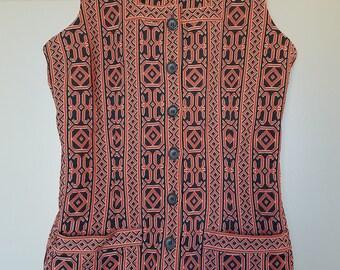 1960s Hippie Tunic Sleeveless Top Abstract Vintage Retro Boho