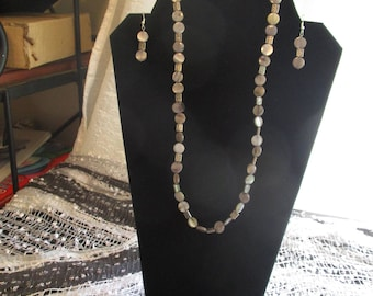 Gray and silver Necklace and earrings