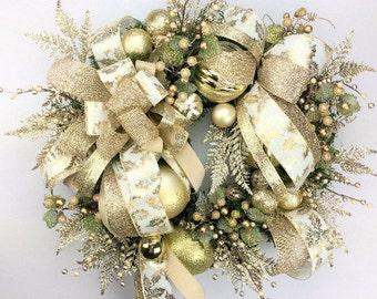 """30"""" Christmas Wreath Winter Wreath New Years Wreath Large Gold Holiday Wreath Door Hanger Door Decor Xmas Decor Christmas Decor"""