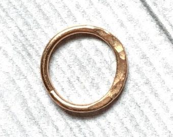 14K Rose Gold Nose Ring, 12 to 24 Gauge, Solid Rose Gold Nose Hoop, Hammered Nose Ring, Septum Ring 12g 14g 16g 18g 20g 22g 24g