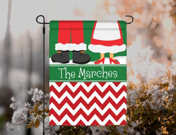 Christmas Garden Flag Personalized Mr Mrs Claus Santa Outdoor Garden Decor Garden Gift Christmas Holiday Decor Housewarming Hostess Gift