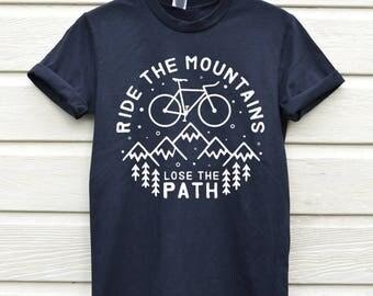 Bike Hiking Shirt Graphic Tee Gift Ideas Mountains Gift For Him T-shirts Tees Adventure Shirts Hiking Shirt Men Graphic Tee Boyfriend Gift