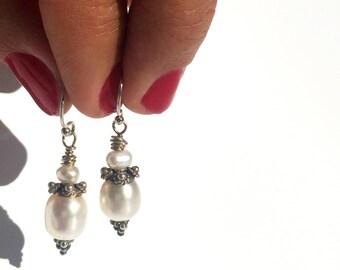 Akoya beads - women's earrings - sterling silver pearl earrings from Japan
