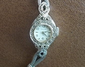 Vintage~Antique~14K~solid~White Gold~Watch~Diamonds~17 Jewel~Elgin~Works~Beautiful Watch
