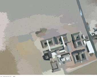 Urban London Print -Homerton Hospital, Hackney E9- Aerial Map- Poster