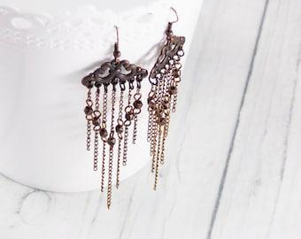 Christmas gift chain jewelry threader earrings chain earrings copper earrings fine earrings gothic earrings retro earrings victorian fashion
