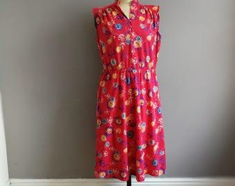 Vintage red summer dress / red floral boho dress / boho festival dress / vintage summer dress / red floral sleeveless dress / mid length