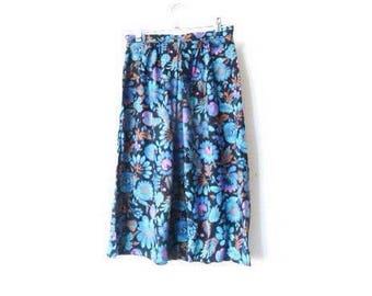 Vintage Skirt | Midi | Tropical | Electric Blue | Floral | High Waist | Festival | Small