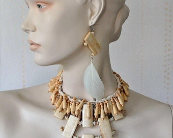 Bone necklace, Feather earrings, Statement necklace and earrings, Tribal necklace, Boho chic necklace, Dramatic necklace, OOAK jewelry set