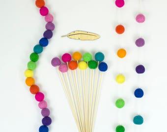 Modern Rainbow Felt Ball Garland | Party Decoration | Nursery Bunting | Rainbow Pom Garland | Rainbow Pom Flowers | Gender Neutral Kids Room
