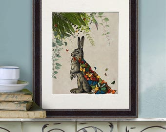 Woodland animals-Hare with butterfly cloak-Rabbit print Bunny rabbit Bunny gift Rabbit nursery Rabbit art Hare print Bunny nursery decor