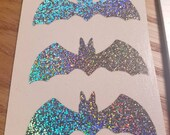 holographic bat sticker, bat decal, silver holographic bat, silver bat, goth sticker, halloween sticker, sparkly bat. silver glitter bat
