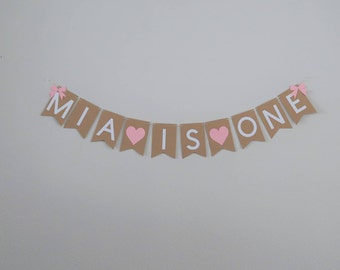Rustic First Birthday Banner Bow Baby GIrl
