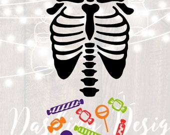 DIGITAL DOWNLOAD candy tummy skeleton svg candy svg clip art Halloween svg Skeleton svg Cutting File png bones trick or treat