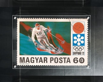Postage Wall Art: 1972 Magyar Posta Stamps - Winter Olympics Trio - Enlarge to preferred size
