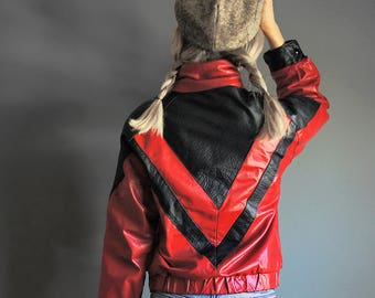 Vintage 80s David Laurenz Leathers Jacket - Red Black - Michael Jackson Jacket - Made in USA - Womens Size 7 8