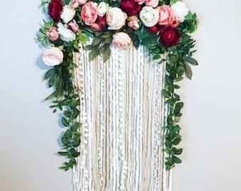 Floral Wall Hanging, Floral Wedding Decor, Flower Wall Art, Nursery Wall  Decor,