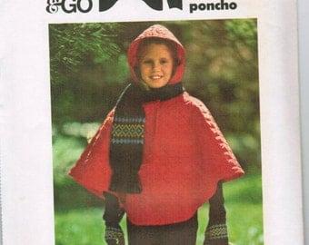 OOP Vintage Butterick 4454 Girls Poncho UNCUT