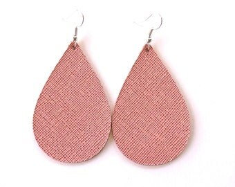 leather earrings / genuine leather / teardrop earrings / saffiano leather