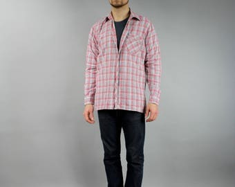 Red Plaid Shirt . 90s Light Flannel Shirt . Men's Red Blue 90s Grunge Shirt . UNISEX Boyfriend Oversized Shirt . Casual Overshirt . Large L