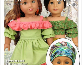 L&P #1035: Olá Brasil! Off-the-Shoulder Samba Top and Bahia Dress — and Traditional Brazilian Baiana Headwrap — Pattern for 18 Inch Dolls