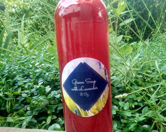 Sale! Handmade Liquid Green Soap, with hempseed oil, pure lavender essential oil. Vegan