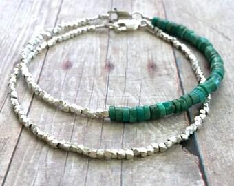 Genuine Turquoise Bracelet, Hill Tribe Silver Jewelry, Minimalist Small Bead Bracelet, Blue Green Semi Precious Stone Jewelry