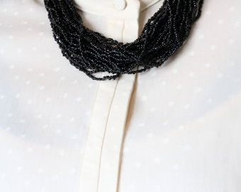 Multi Strand Black Bead Necklace - Chunky Black Beaded Necklace