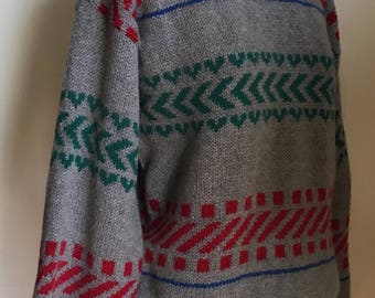 Mens 1980's Grey/Green/Red Pendleton 100% Virgin Wool Pullover Crew Neck Sweater /size Medium
