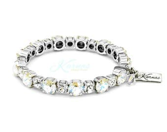 SHEER FANTASY 6/8mm KDS Stretch Bracelet Made With Swarovski Crystal *Antique Silver Finish *Karnas Design Studio™ *Free Shipping