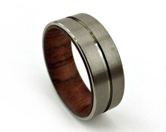 Grooved Titanium, Split Ring, Titanium Walnut, Black Walnut Ring, Deep Woods Ring, Designs by Caleb, Handmade Ring, Colorado Jewelry, Made