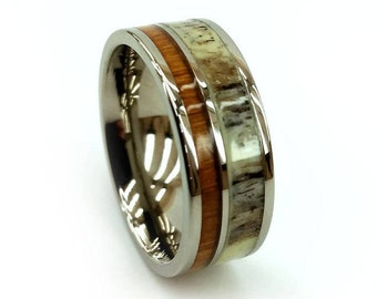 Antler Wood Ring, Titanium Wood Ring, Titanium Antler Ring, Two Inlay Ring, Organic Metal Ring, Brown Wood Ring, Paired Ring, Unique Design