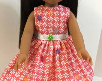 "Wellie Wishers Like 14.5 inch Doll Clothes, Cute Red with ""White DAISY"" Dress, 14.5"" Dolls like AG Wellie Wishers Doll Clothes, Colorful!"