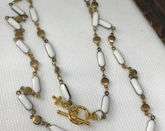 Links of Brush Gold Tone and White Beaded Necklace