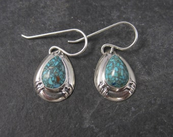 Simple Vintage Southwestern Turquoise Earrings Sterling Silver